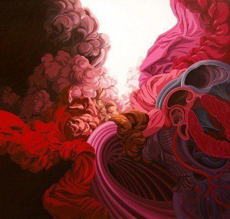 james roper organic painting feminine woman reproduction life womb mother pinks