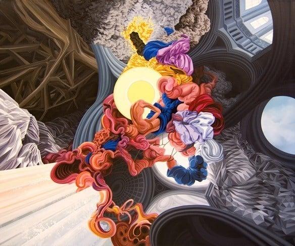 james roper painting abstract shapes human life distort perception ideas symbolic