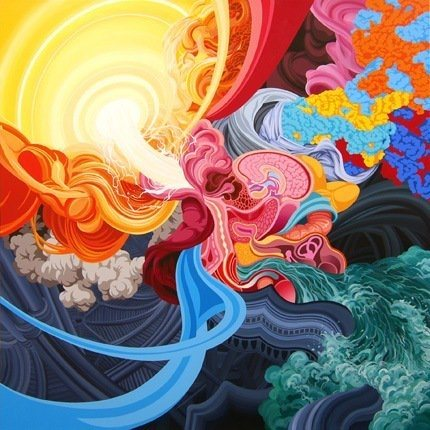 james roper trippy fine art painting acrylics weird bizarre cool color shape movement
