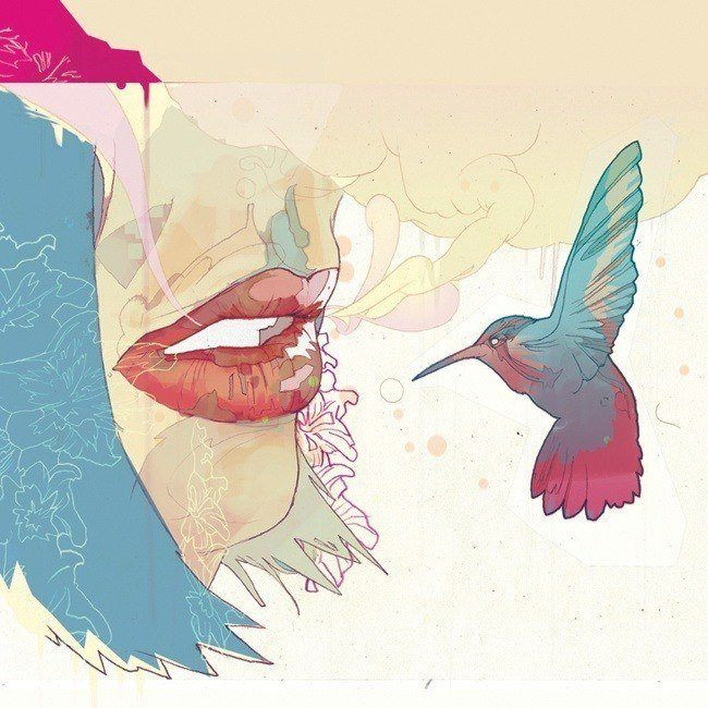 lips hummingbird feminine art illustration kiss woman girl painting design