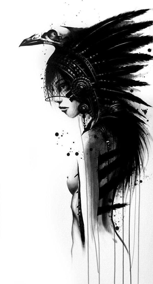 sit native american indian woman nude painting art sexy modern style black and white design