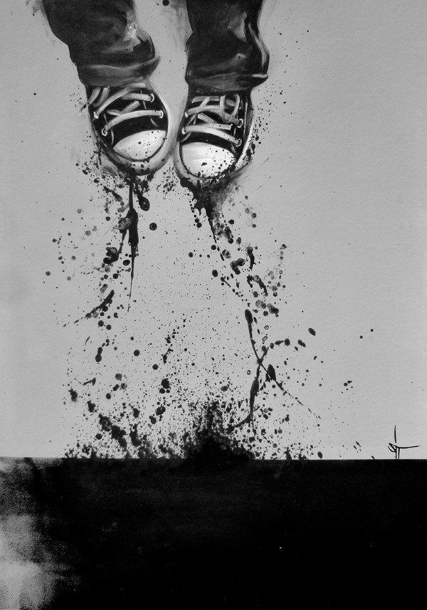 sit painting art sneakers wet splash jumping life dancing fun greyscale