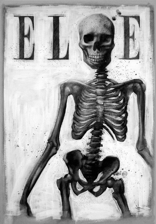 sit skeleton on the cover of elle magazine anorexia fashion model funny humor painting