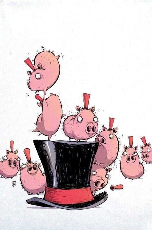 skottie young art cute illustration of pigs and top hats
