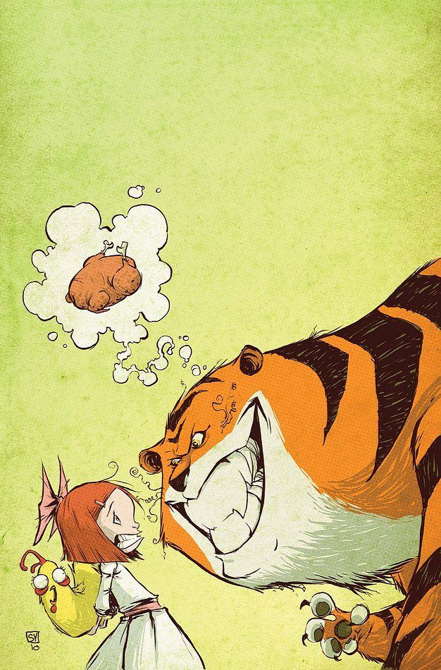 skottie young art funny illustration of a little girl hiding a chicken from a tiger