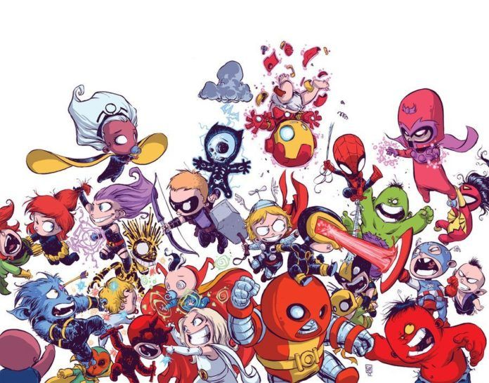 skottie young art illustration baby avengers vs the baby xmen fight a battle