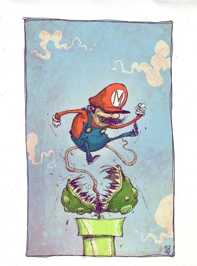 skottie young art illustration mario escaping a venus fly trap monster plant from nintendo game