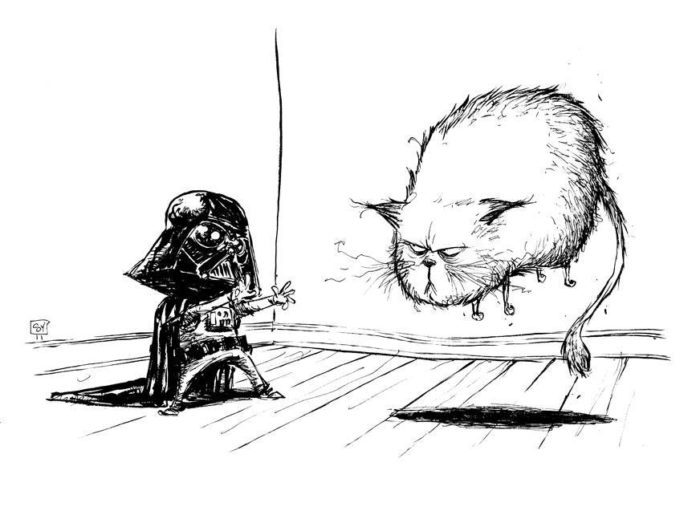 skottie young art star wars illustration of kid vader using jedi mind trick on a cat to make it float