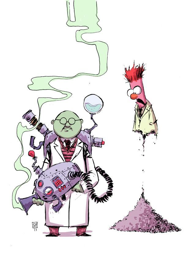 skottie young fan art illustratin of bunson and beaker from the kids tv series the muppet show