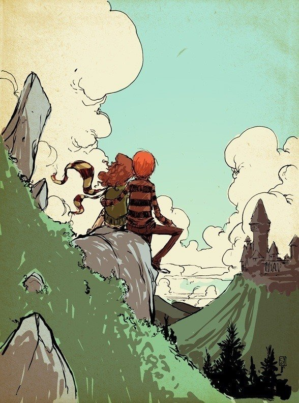 skottie young fan art illustration of ron and hermione from the harry potter books and movies