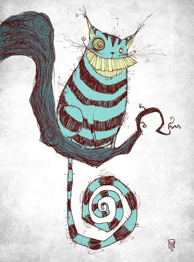 skottie young fan art illustration of the cheshire cat's toothy grin from alice in wonderland