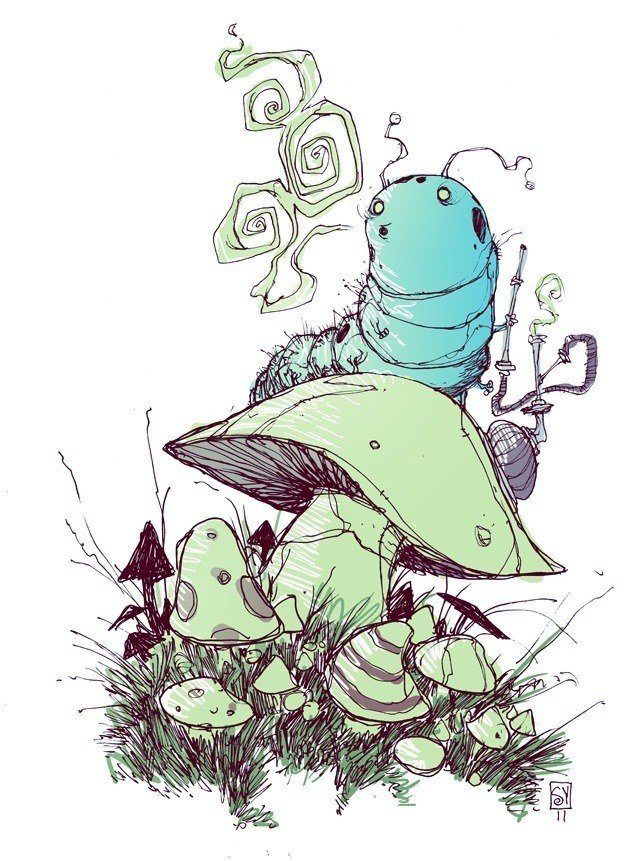 skottie young fan art illustration of the hookah smoking caterpillar from alice in wonderland