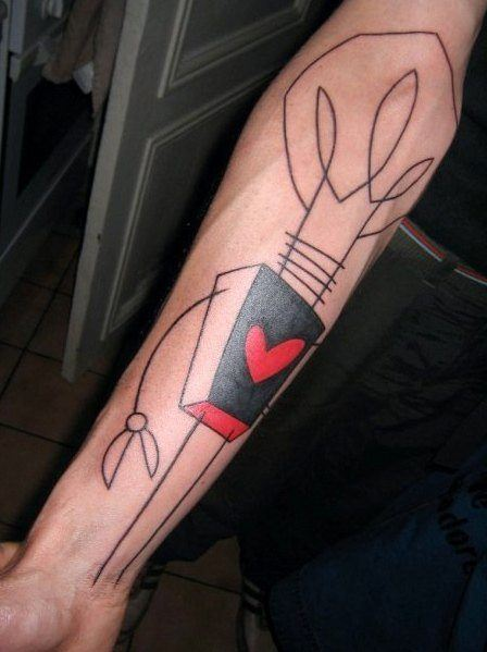 yann black tattoo avant garde abstract cartoon style lines shapes body art lightbulb heart character