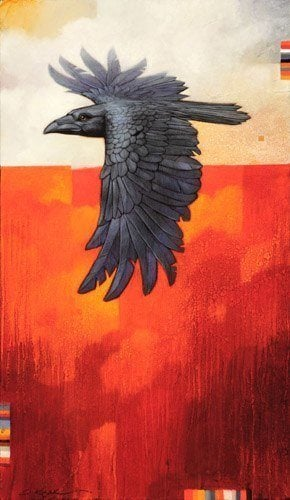 A Craig Kosak painting of a raven bird totem in flight, inspired by native american folk beliefs