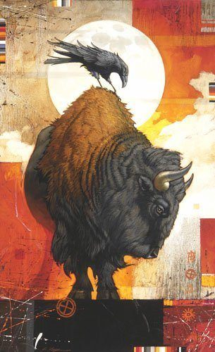 A Craig Kosak painting of the native american totem animals, bison and raven
