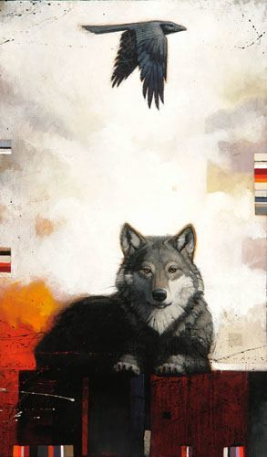 A Craig Kosak totem animal painting of a wolf and a raven in an expressive, artistic style