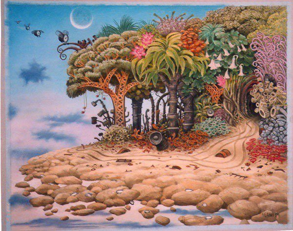A Jacek Yerka sketch of a surrealist fantasy island with clock flies