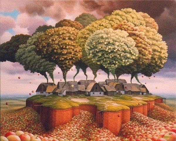 A Jacek Yerka surealism painting of a village of houses with apples trees coming out of the chimneys