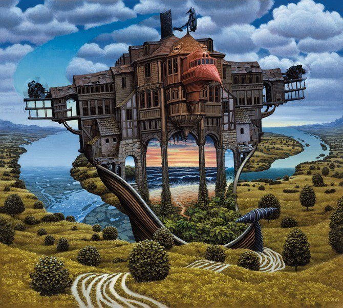 A Jacek Yerka surrealism painting that combines fantasy and surrealism to create an alternate reality
