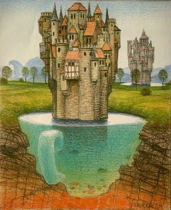 A Jacek Yerka surrealism sketch of a castle in a tea cup