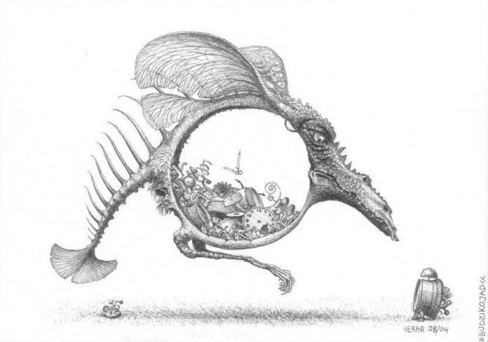 A Jacek Yerka surrealism sketch of a fantasy dragon that eats clocks