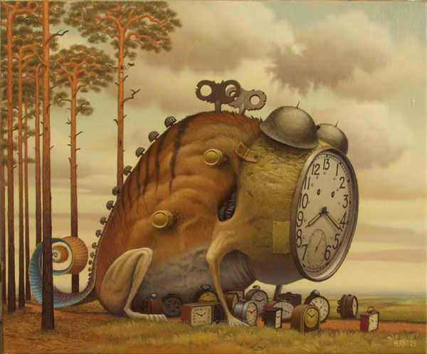 A Jacek Yerka surrealist fantasy painting of the guardian of time and his henchmen clocks
