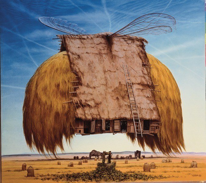 A Jacek Yerka surrealist painting of a flying hay barn with dragonfly wings