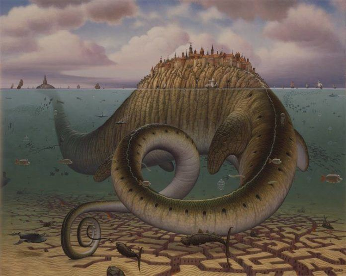 A Jacek Yerka surrealist painting of the loch ness monster supporting a city on its back