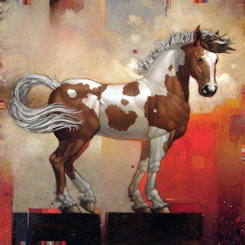 A beautiful painting by Craig Kosak of a dappled horse totem animal posing proudly