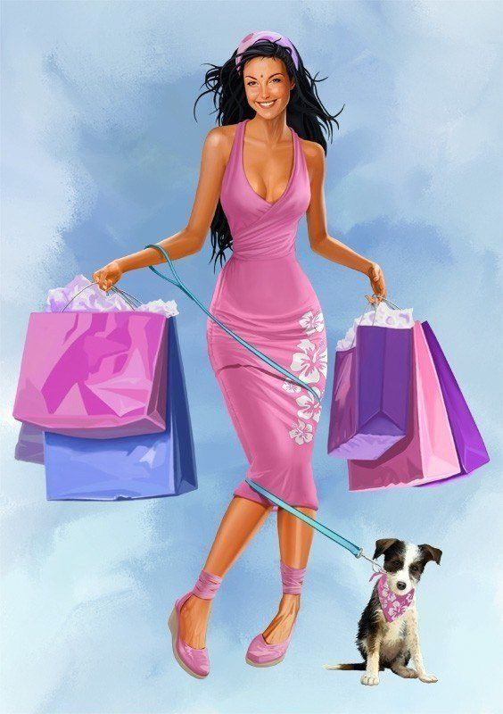 A beautiful woman in a pink dress goes shopping in this Joerg Warda Photoshop painting