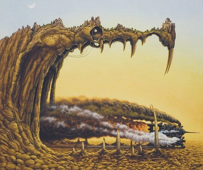 A brilliant surrealism painting by Jacek Yerka of a steam engine train exiting the mouth of a dragon made of land