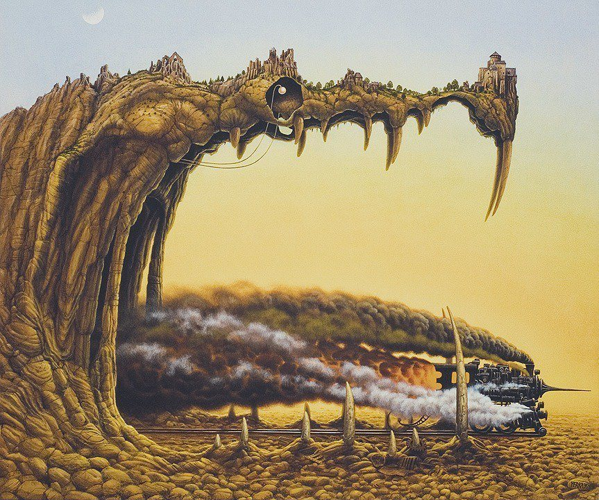 A Brilliant Surrealism Painting By Jacek Yerka Of Steam Engine Train Exiting The Mouth