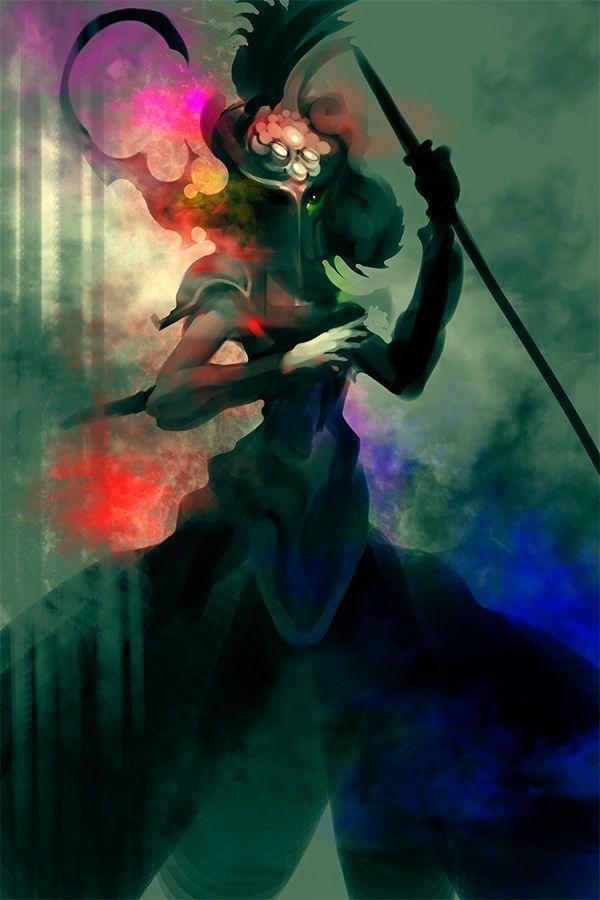 A digital painting by computer artist Chris Newman of a mysterious samurai warrior