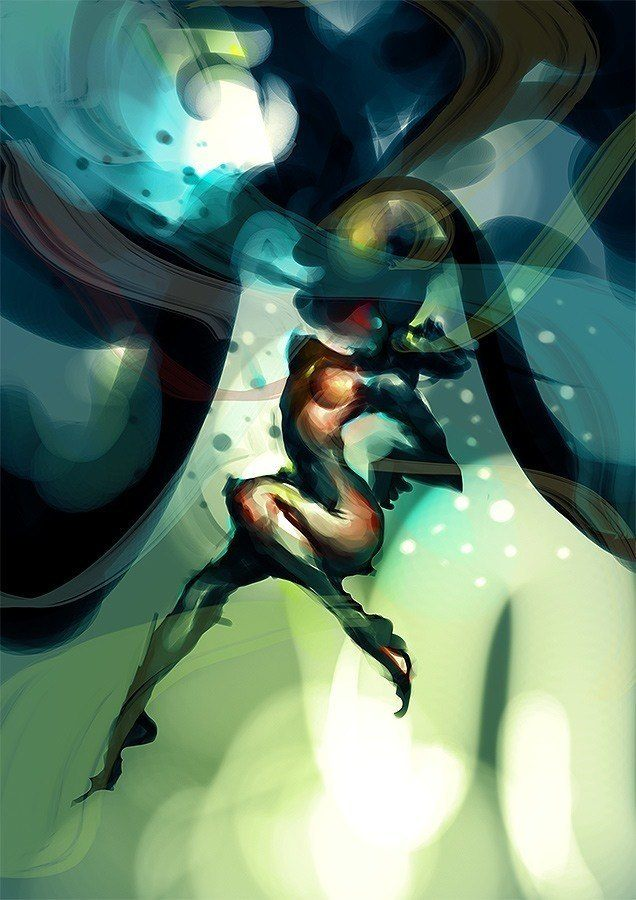 A digital painting by computer artist Chris Newman of a sexy warrior woman fighting underwater
