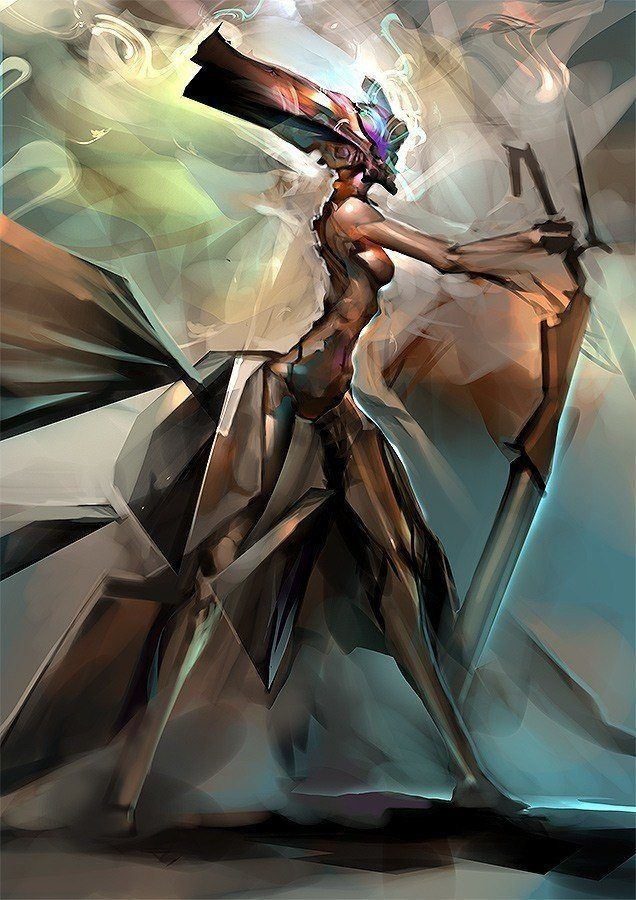 A digital painting by computer artist Chris Newman that combines anime and futurism art
