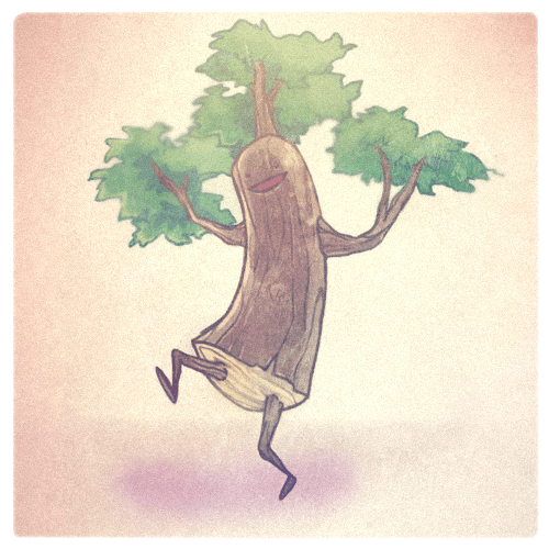 A happy dancing tree character design by artist and illustrator Mike Puncekar
