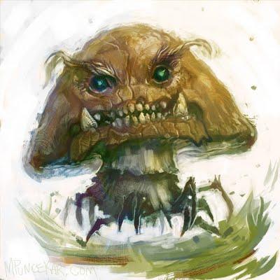 A mario goomba mushroom illustration by humor artist Mike Puncekar