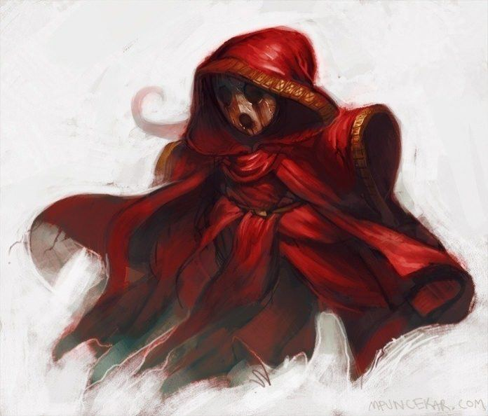 A mysterious cloaked figure in a red cape illustrated by artist Mike Puncekar