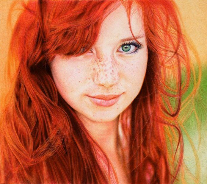 A photorealistic drawing in ballpoint pen by Samuel Silva of a beautiful redhead girl