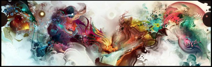 A psychedelic and surreal Photoshop painting by digital artist Andy android Jones called the kiss