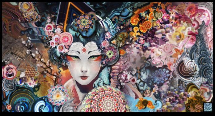 A psychedelic and surreal Photoshop painting by digital artist Andy android Jones depicting a geisha surrounded by mandalas