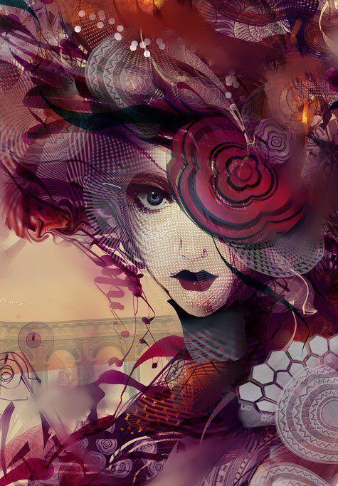 A psychedelic and surreal Photoshop painting by digital artist Andy android Jones of a Victorian lady of the night