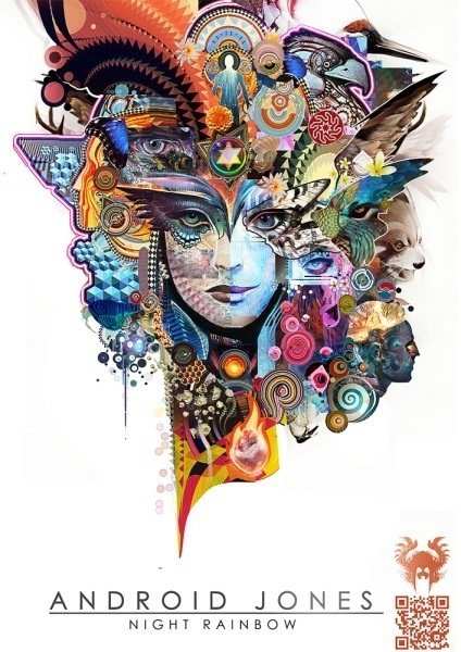 A psychedelic and surreal Photoshop painting by digital artist Andy android Jones of a trippy abstract woman