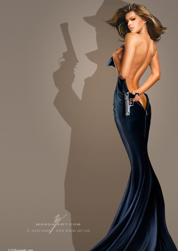 A sexy pin-up girl painting by Joerg Warda of a beautiful woman with a james bond shadow