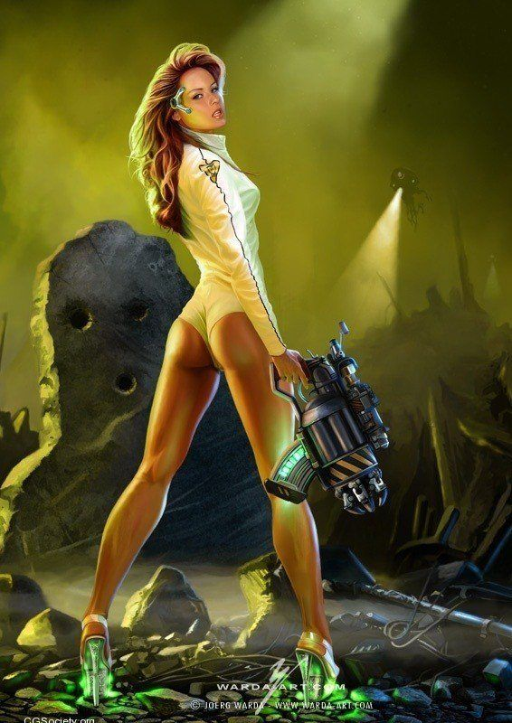 A sexy sci-fi pin up girl paintin by Joerg Warda of a cute space cadet girl on an alien planet