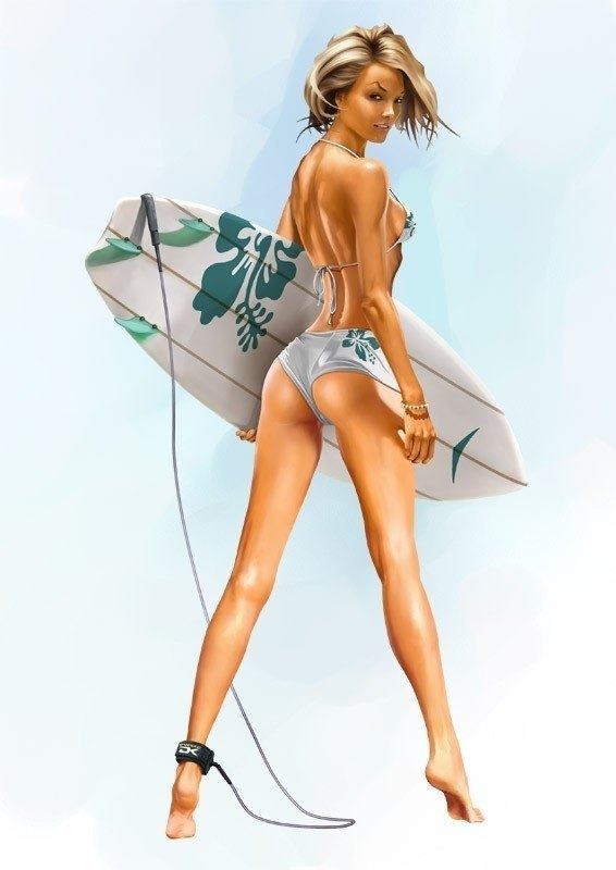 A sexy surfer girl poses with a surf board in a Joerg Warda Photoshop painting