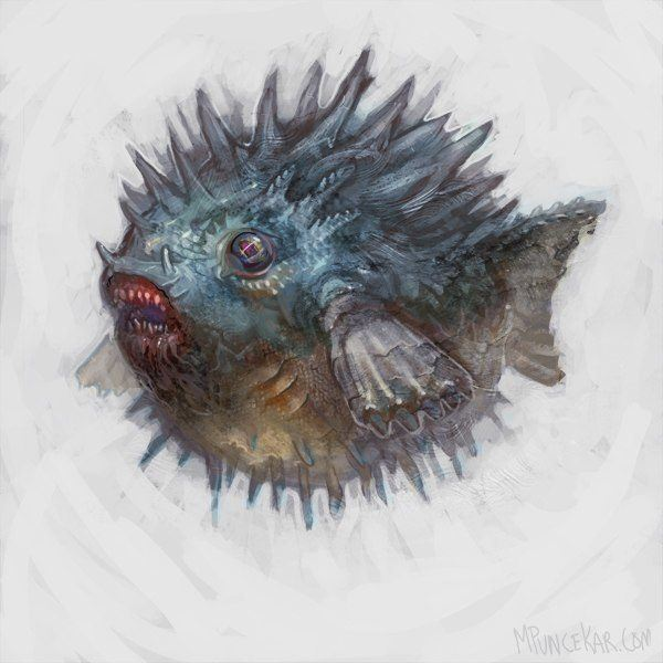 A spikey blowfish illustration by fantasy and steampunk artist Mike Puncekar