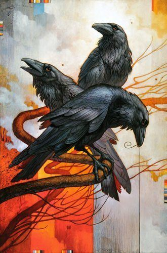 A spiritual native American influenced painting of three ravens, bird totem animals, by Craig Kosak