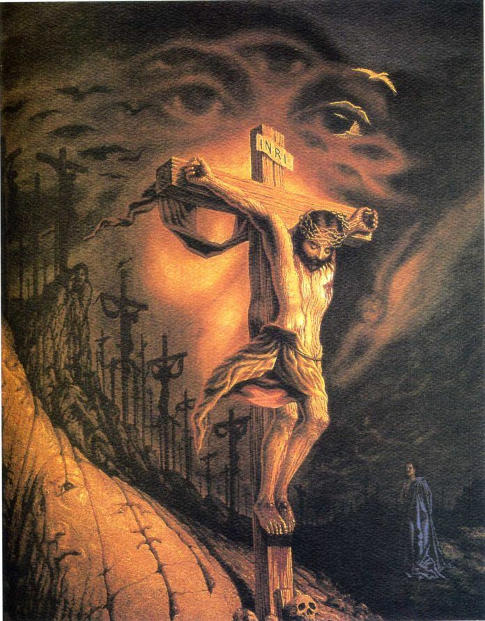 A surrealist illusion painting by Octavio Ocampo of Jesus Christ on the cross