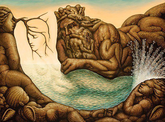 A surrealist illusion painting by Octavio Ocampo of a mermaid and Poseidon, the god of the sea
